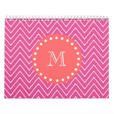 Hot Pink Chevron Pattern | Coral Monogram Calendars