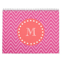 Hot Pink Chevron Pattern | Coral Monogram Calendar