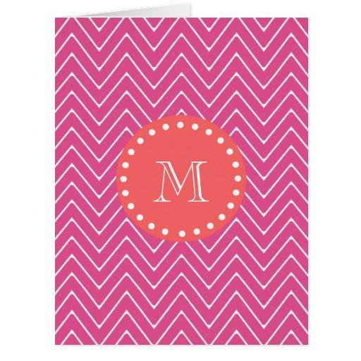 Hot Pink Chevron Pattern | Coral Monogram Large Greeting Card
