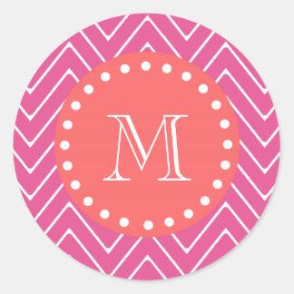 Hot Pink Chevron Pattern | Coral Monogram Classic Round Sticker