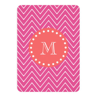 "Hot Pink Chevron Pattern | Coral Monogram 4.5"" X 6.25"" Invitation Card"