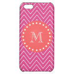 Hot Pink Chevron Pattern | Coral Monogram iPhone 5C Cover