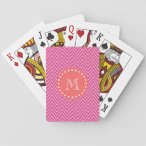 Hot Pink Chevron Pattern | Coral Monogram Playing Cards
