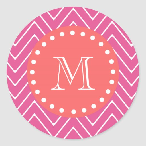 Hot Pink Chevron Pattern   Coral Monogram Round Sticker