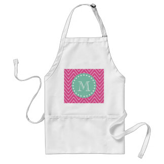 Hot Pink Chevron Pattern | Mint Green Monogram Adult Apron