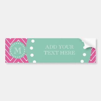 Hot Pink Chevron Pattern | Mint Green Monogram Bumper Sticker