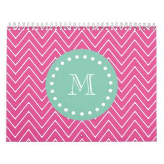 Hot Pink Chevron Pattern Mint Green Monogram Calendars