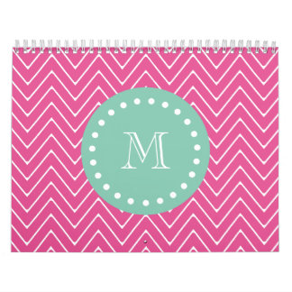 Hot Pink Chevron Pattern | Mint Green Monogram Calendar