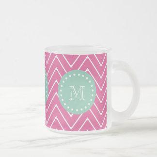 Hot Pink Chevron Pattern   Mint Green Monogram Frosted Glass Coffee Mug