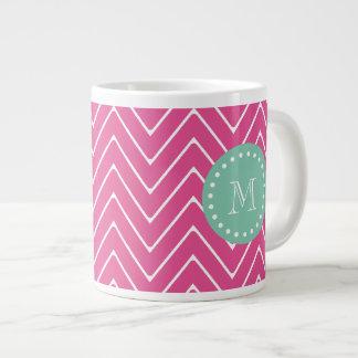 Hot Pink Chevron Pattern | Mint Green Monogram Large Coffee Mug