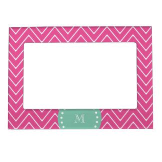 Hot Pink Chevron Pattern   Mint Green Monogram Magnetic Frame