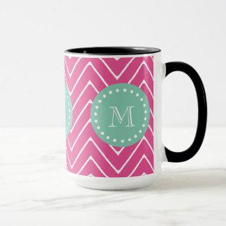 Hot Pink Chevron Pattern | Mint Green Monogram Mug