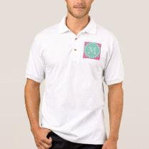 Hot Pink Chevron Pattern | Mint Green Monogram Polo Shirt