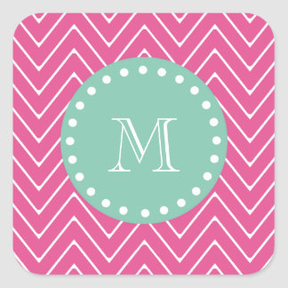 Hot Pink Chevron Pattern | Mint Green Monogram Square Sticker
