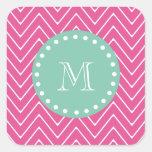Hot Pink Chevron Pattern   Mint Green Monogram Stickers
