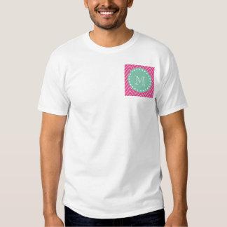 Hot Pink Chevron Pattern | Mint Green Monogram T-Shirt