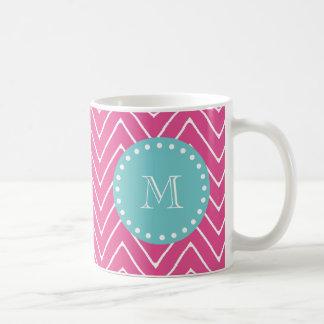 Hot Pink Chevron Pattern | Teal Monogram Coffee Mug