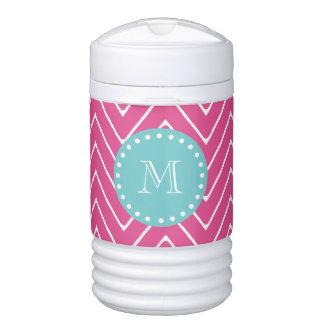 Hot Pink Chevron Pattern | Teal Monogram Cooler