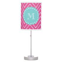 Hot Pink Chevron Pattern | Teal Monogram Desk Lamp