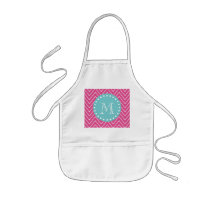 Hot Pink Chevron Pattern | Teal Monogram Kids' Apron