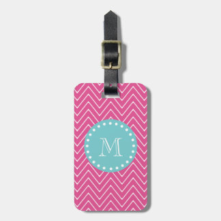 Hot Pink Chevron Pattern | Teal Monogram Bag Tag