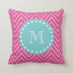 Hot Pink Chevron Pattern | Teal Monogram Pillow
