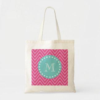 Hot Pink Chevron Pattern | Teal Monogram Tote Bag