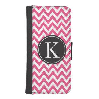 Hot Pink Chevron Stripe Pattern Custom Monogram iPhone SE/5/5s Wallet