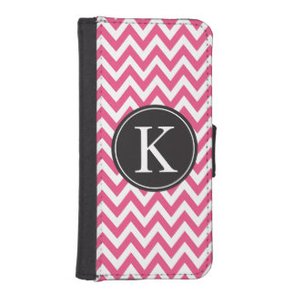 Hot Pink Chevron Stripe Pattern Custom Monogram Phone Wallet Cases