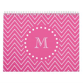 Hot Pink Chevron   Your Monogram Calendar