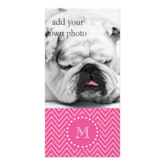 Hot Pink Chevron | Your Monogram Card