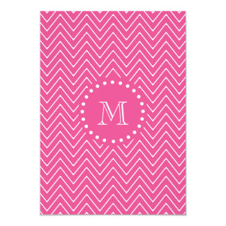 Hot Pink Chevron   Your Monogram Card