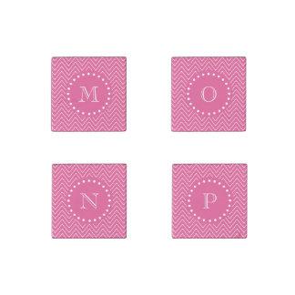 Hot Pink Chevron   Your Monogram Stone Magnet
