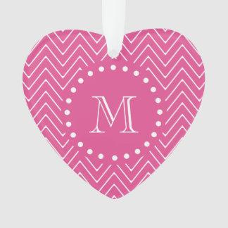 Hot Pink Chevron | Your Monogram Ornament