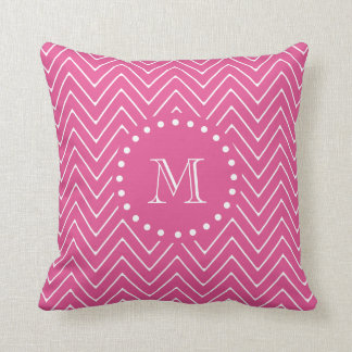 Hot Pink Chevron | Your Monogram Throw Pillow