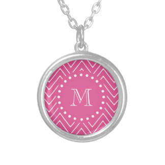 Hot Pink Chevron   Your Monogram Silver Plated Necklace