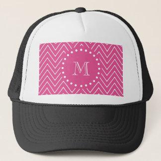 Hot Pink Chevron   Your Monogram Trucker Hat