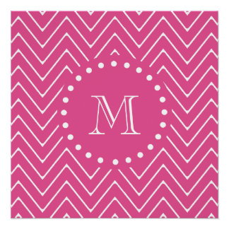 Hot Pink Chevron | Your Monogram Perfect Poster