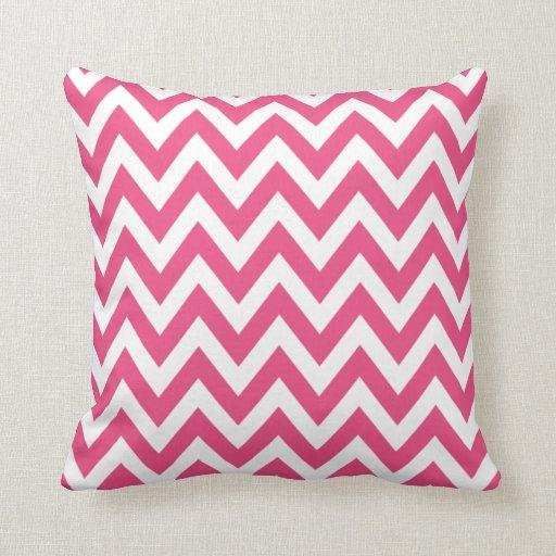 Hot Pink Chevron Zigzag Pattern Throw Pillow
