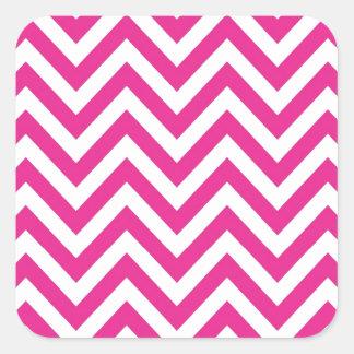 Hot Pink Chevron zigzag Pattern Square Sticker