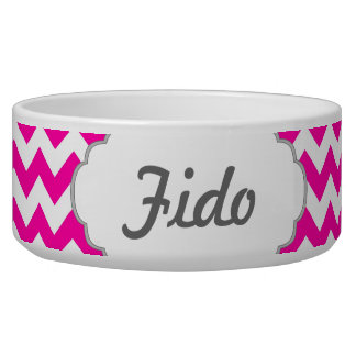 Hot Pink Chevrons - Add Your Own Text Dog Bowl