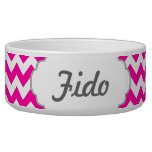 Hot Pink Chevrons - Add Your Own Text Pet Food Bowl