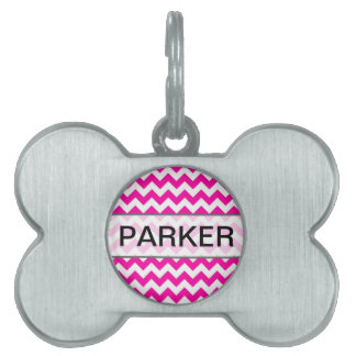 Hot Pink Chevrons - Add Your Own Text Pet Name Tags