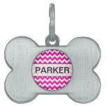 Hot Pink Chevrons - Add Your Own Text Pet Tags