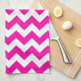 Hot Pink Chevrons - Add Your Own Text Towel