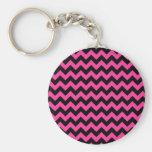 Hot Pink Chevrons Chic Elegant Print Key Chains