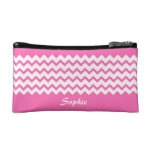 Hot Pink Chevrons Zig Zag Bagette Small Cosmetic Cosmetic Bag at Zazzle