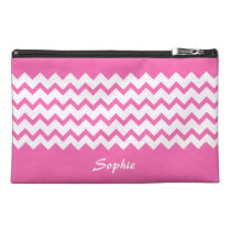 Hot Pink Chevrons Zig Zag Bagette Travel Accessory Travel  Accessory Bag at Zazzle