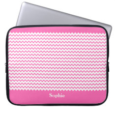 Hot Pink Chevrons Zig Zag Girly Neoprene Sleeve 15 at Zazzle