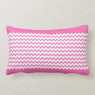 Hot Pink Chevrons Zig Zag Lumbar Pillow at Zazzle